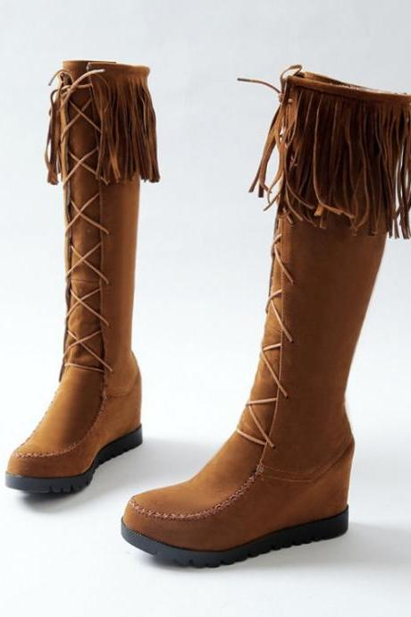 Lace Up Tassels Inside Wedge Long Boots