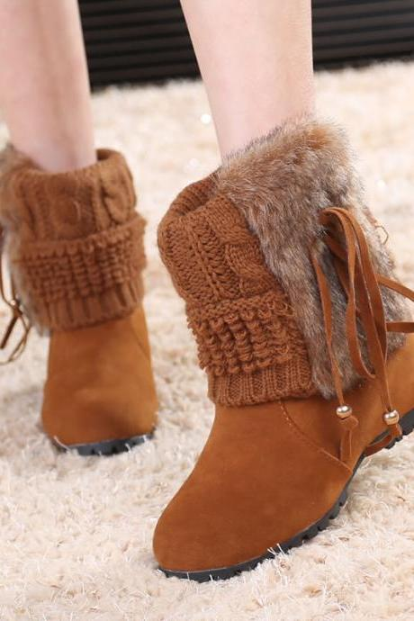 Beads Faux Fur Inside Wedge Heel Short Snow Boots