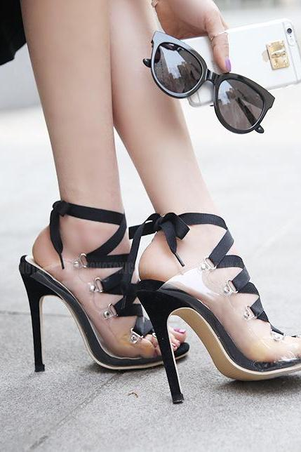 Barely-There Transparent Lace-Up High Heel Sandals