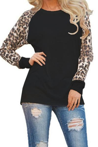 Leopard Patchwork Long Sleeves Scoop Slim T-shirt
