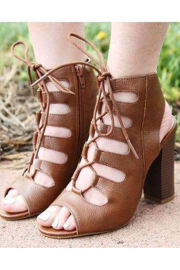 Lace Up Peep Toe High Chunky Heels Sandals