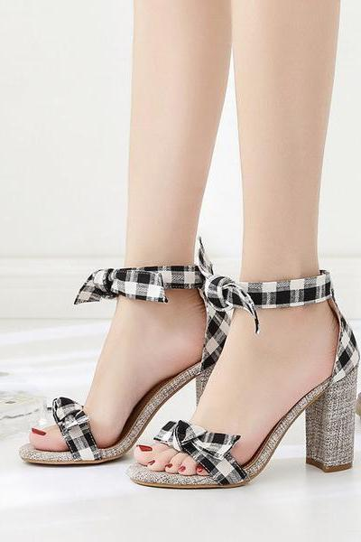 Plaid Bowknot Decorate Open Toe Ankle Wraps High Chunky Heels Sandals