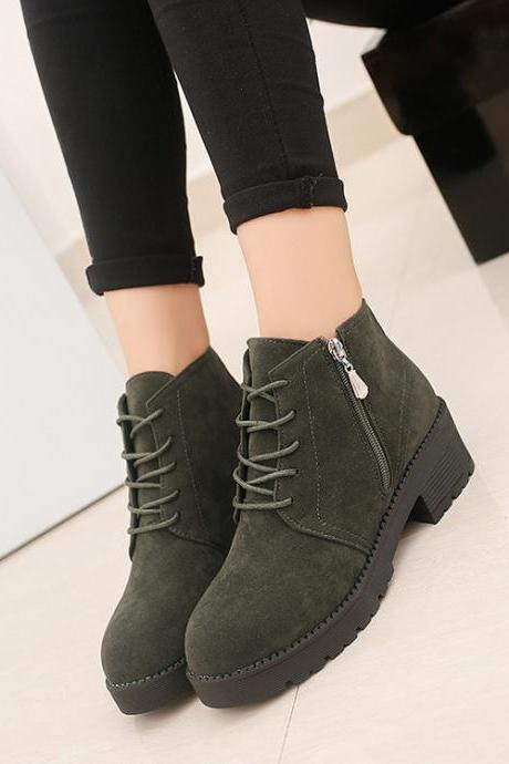 Suede Round Toe Side Zipper Lace UP Low Chunky Heels Short Martin Boots