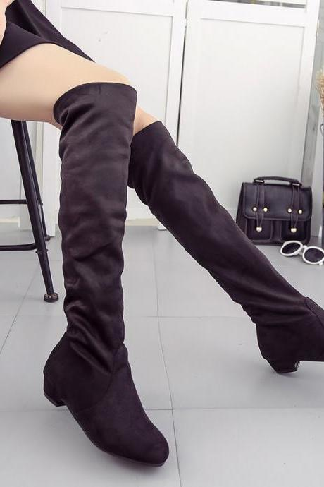 Low Chunky Heels Round Toe Over-knee Long Boots
