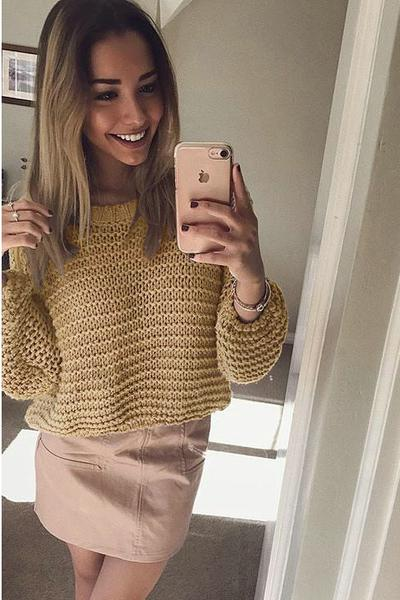 Scoop Long Sleeves Loose Knitwear Pullover Sweater