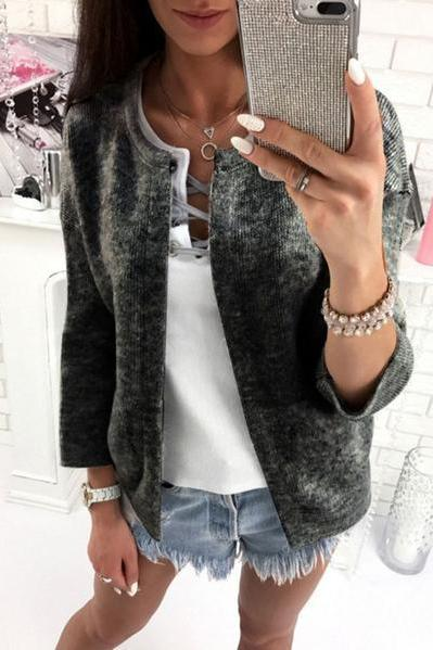Scoop Solid Color 9/10 Sleeves Cardigan