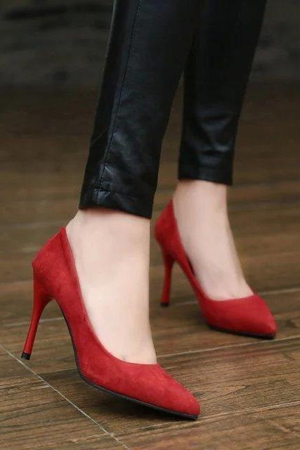 Faux Suede Pointed-Toe High Heels