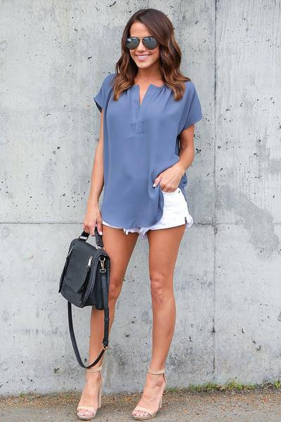 Short Sleeves V-neck Pure Color Chiffon Blouse
