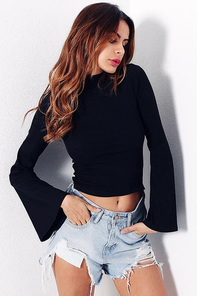 High Neck Long Trumpet Sleeves Short Blouse
