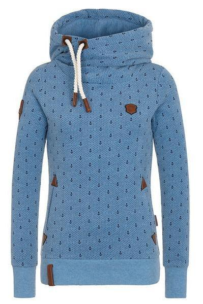 Polka Dot Print Pockets Drawstring High Neck Slim Hoodie