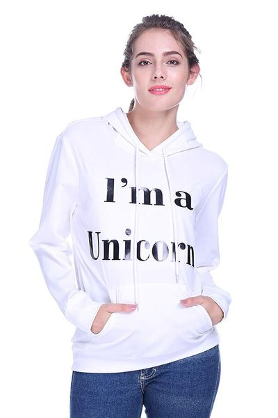 """I'm a Unicorn"" White Drawstring Hoodie Pullover"