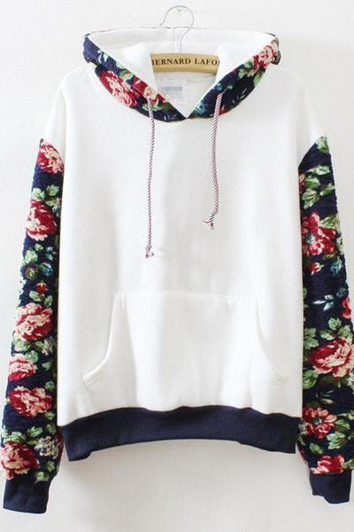 Patchwork Flower Print Drawstring Pocket Loose Hoodie