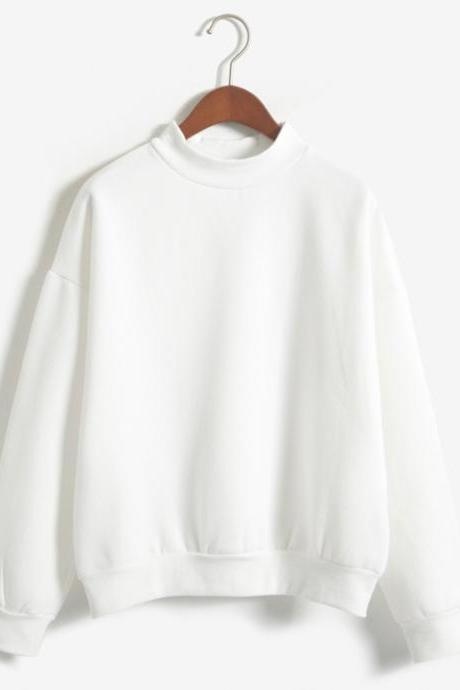 Candy Color Middle Neck Loose Sweatshirt