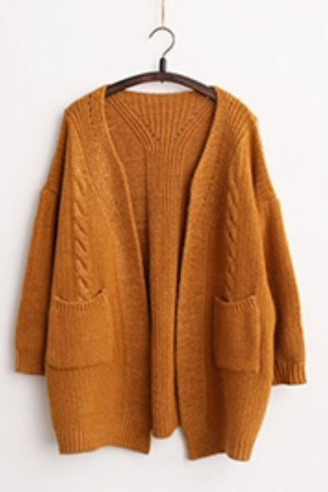 V-neck Knit Cable Pockets Pure Color Long Cardigan