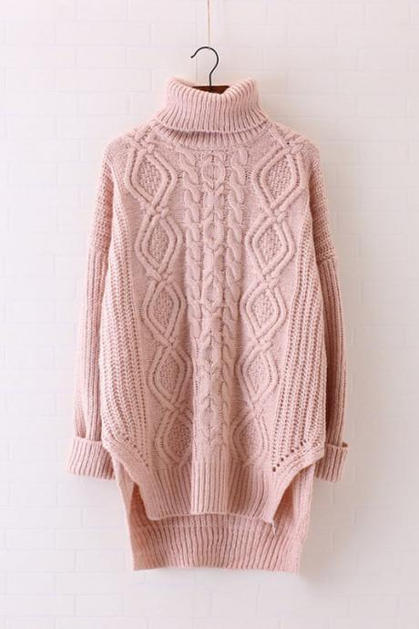 High Neck Cable Knitted Loose Long Sweater