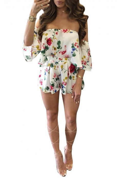 Print Off Shoulder Short Sleeves Crop Top with Print Shorts Two Pieces Set