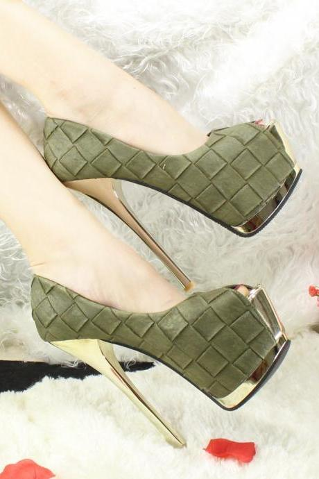 Plaid Peep Toe Platform Super High Stiletto Heel Sandals