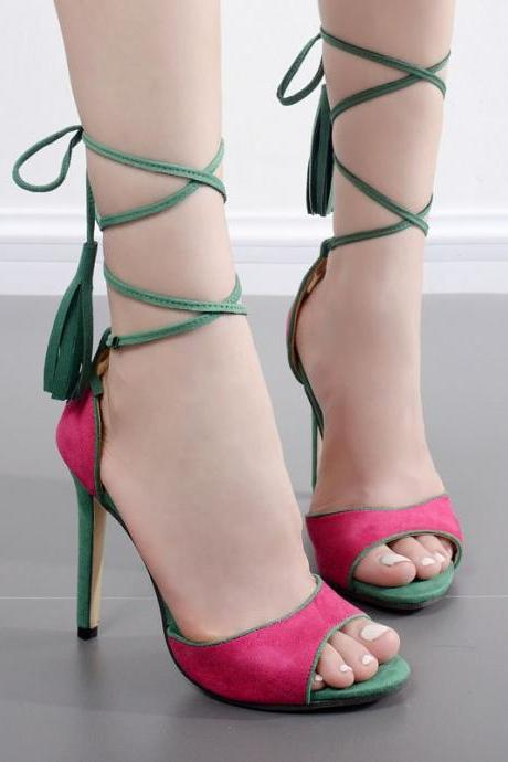 Colour Block Faux Suede Lace-Up High Heel Sandals Featuring Tassels