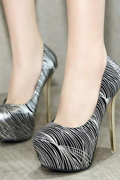 Stripes Round Toe Platform Stiletto High Heels Party Shoes