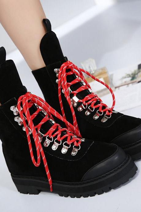 Round Toe Lace Up Platform Flats Short Martin Boots