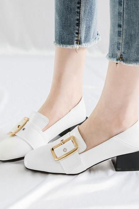 Square-Toe Buckle Low Chunky Heels