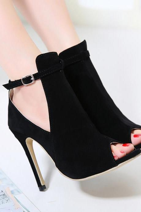 Suede Peep-Toe Ankle Strap Stiletto, High Heels