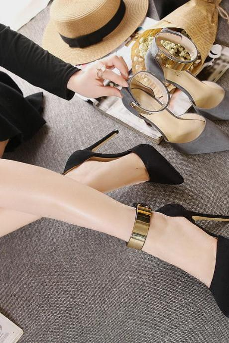 Suede Pure Color Stiletto Heel Pionted Toe Ankle Strap High Heels