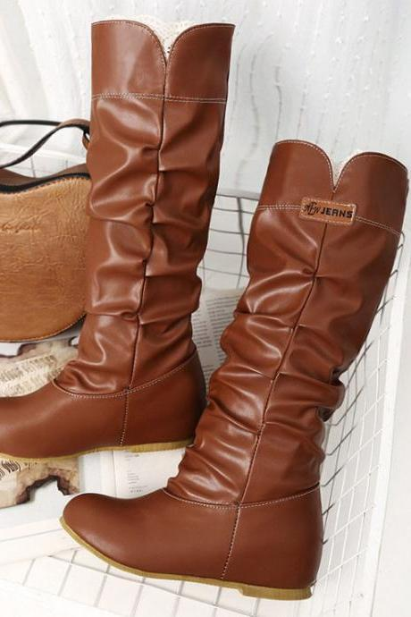 Round Toe Inside Heel Solid Color Half Boots