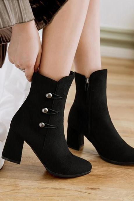 Suede Pure Color Chunky Heel Round Toe Zipepr Short Boots
