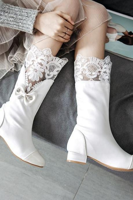 PU Pure Color Chunky Heel Round Toe Boots
