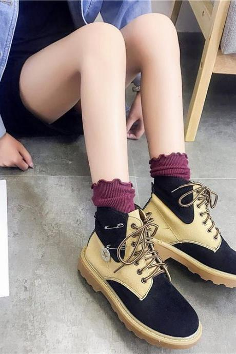 Scrub Patchwork Chunky Heel Round Toe Short Boots