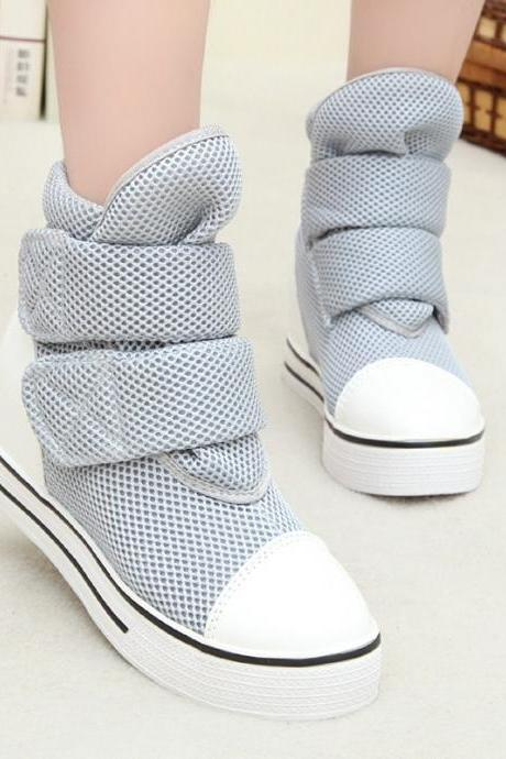 Canvas Patchwork Slope Heel Platform High Heels