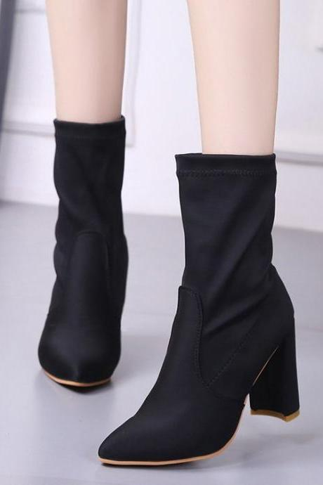 Suede Pure Color Chunky Heel Pionted Toe Boots