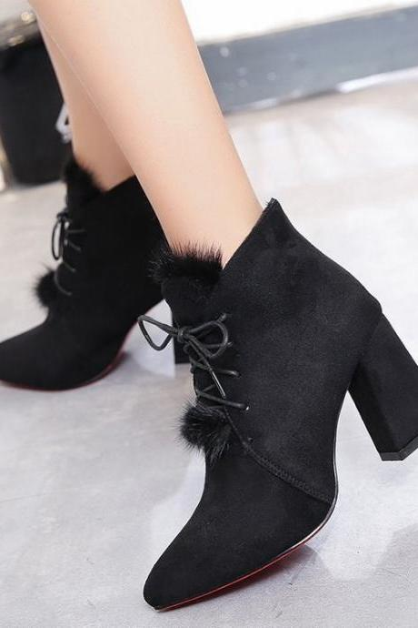 Suede Pure color Lace-Up Chunky Heel Pointed Toe High Heels