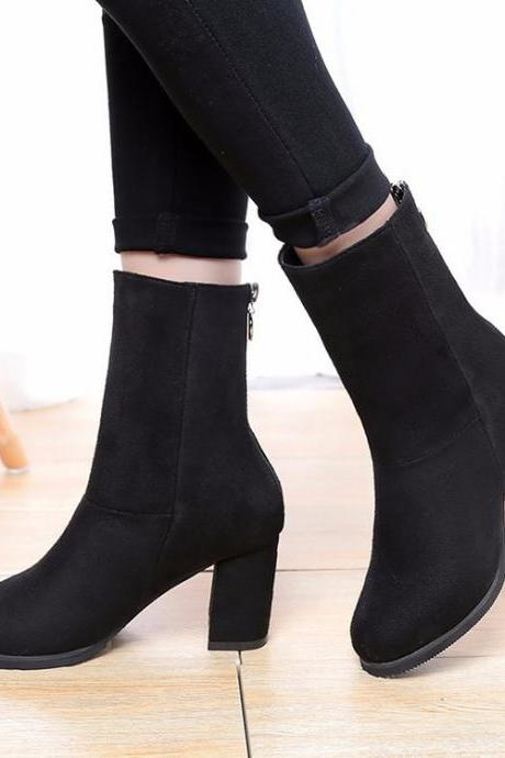 Faux Suede Rounded-Toe Chunky Heel Mid-Calf Boots Featuring Zipper Back