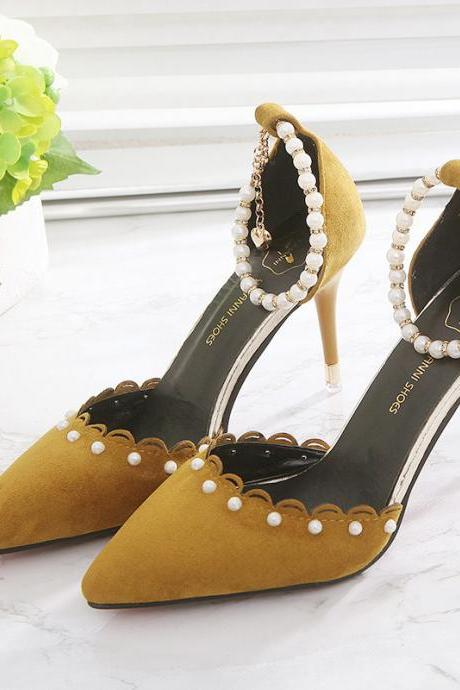 Suede Pointed Pearl Embellished Ankle Strap Stiletto High Heels