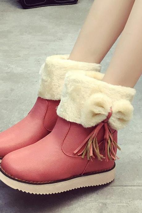 PU Pure Color Flat Round Toe Short Boots