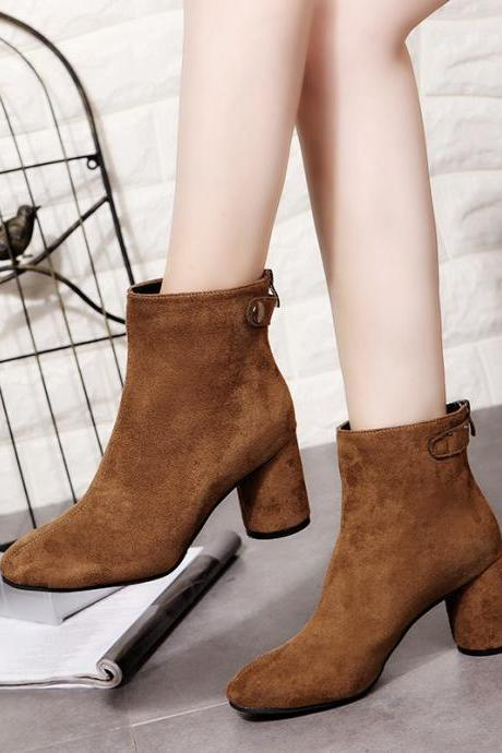 Suede Pure Color Zipper Chunky Heel Pointed Toe High Heel Martin Boots