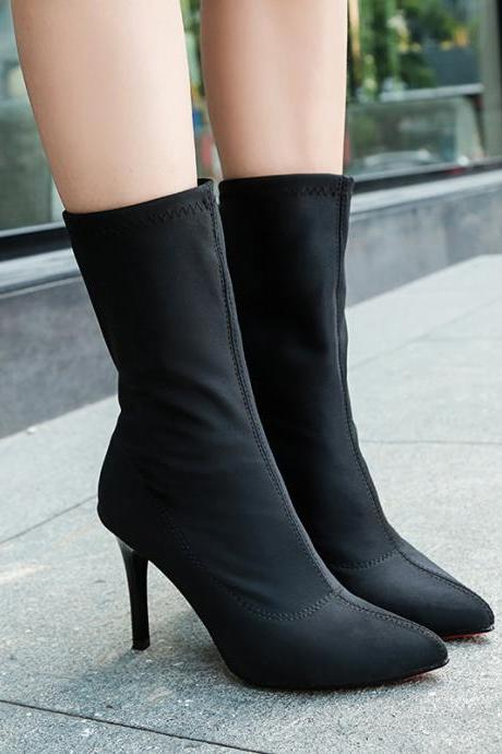 Black Pointed-Toe Mid-Calf High Heel Sock Boots
