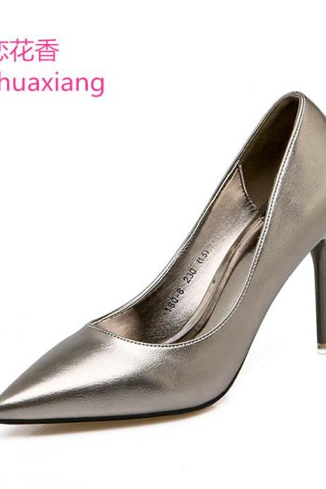 Metallic Faux Leather Pointed-Toe High Heel Stilettos