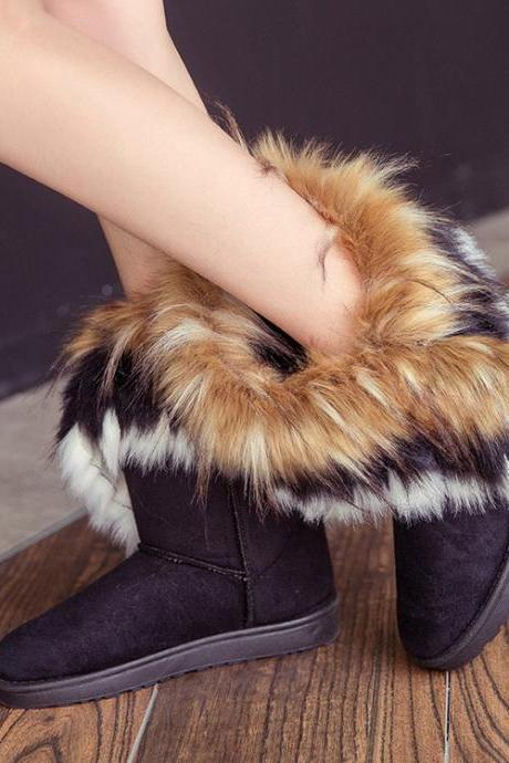 Suede Flat Pure Color Round Toe Short Boots