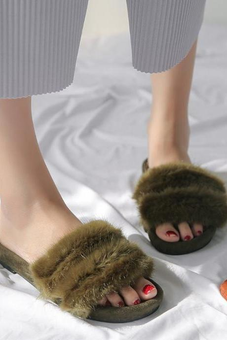Hair Pure Color Peep Toe Slipper Sandals