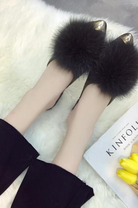 Pointed-Toe Fur Flats Slip-On Mules Sandals
