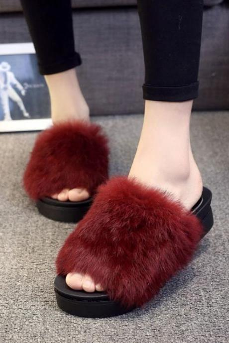 Hair Pure Color Peep Toe Platform Slipper Sandals