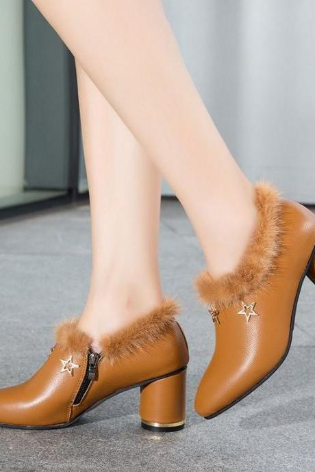 Pure Color Zipper PU Chunky Heel Pionted Toe Short Boots