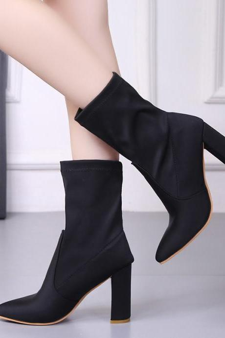 Pure Color Cloth Chunky Heel Pionted Toe Boots