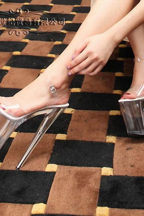PVC Crystal Stiletto Heel Peep Toe High Heels