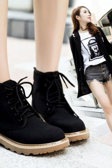 Pure Color Cloth Chunky Heel Round Toe Lace-up Short Boots