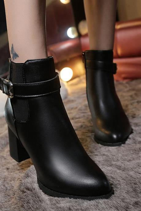Pure Color PU Chunky Heel Pionted Toe Zipper Short Boots