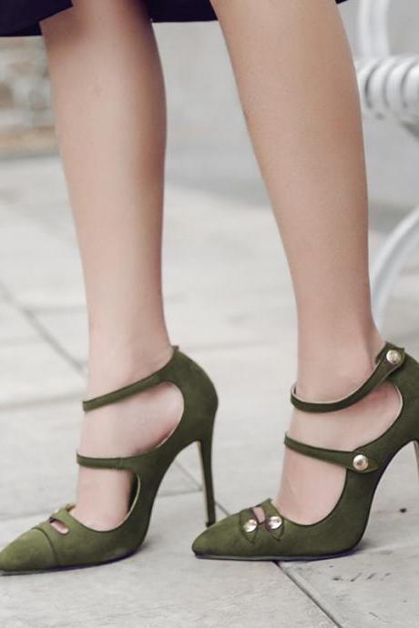 Pure Color Suede Stileto Heel Pionted Toe Ankle Strap High Heels